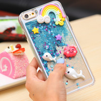 Cute Cartoon Fish Heart Case For iPhone 6 6S 4.7/Plus 5.5 Dynamic Quicksand Bling Star Back Cover Hard Clear For Apple 6S 4.7