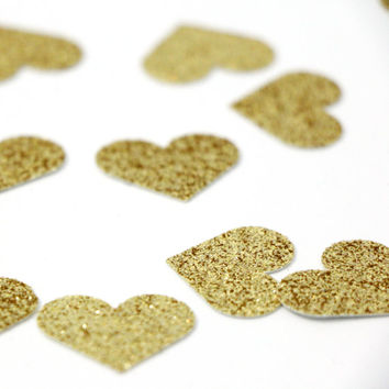 """Gold Glitter Heart Confetti - 1""""  Gold Confetti. Wedding. Bachelorette Party. Bridal Shower. Baby Shower. Engagement. First Birthday."""