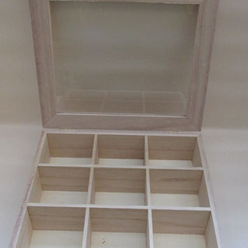 Unfinished Light Wood Shadow Cabinet for Display/Curio Cabinet - 9 Sections - With Clear Lid