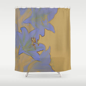 Vintage Look Mustard Yellow Stone Texture Lavendar Lily Shower Curtain by Natural Design