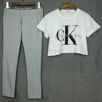 "[ On Sale ] ""Calvin Klein Jeans"" Letter and Logo like Print Short Bare Midriff Sleeve Women Casual Sweatshirt Shirt Top Blouse T-Shirt and Sweatpants Set (2 pc)"