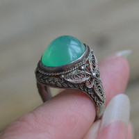 Gorgeous antique NOS art deco filigree chinese export sterling silver adjustable ring with jade green chryoprase
