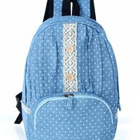 Fashion Print Lace Blue Denim Backpack