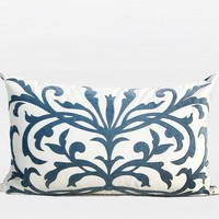 """Sky Blue European Pattern Embroidered Pillow 14""""X22"""""""