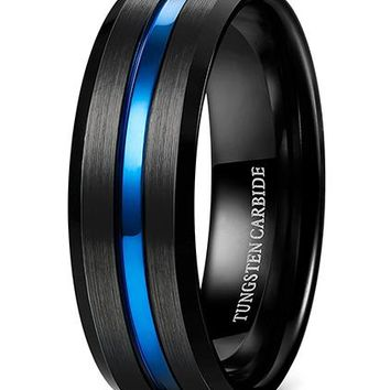 8mm Tungsten Carbide Rings Wedding Engagement Band Black Blue Grooved Brushed