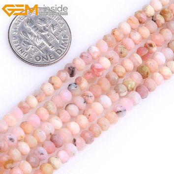 ESBONHS Gem-inside AAA Natural Heishi Rondelle Disc Spacer Pink Opal Beads For Jewelry Making Strand 15inches DIY Jewellery