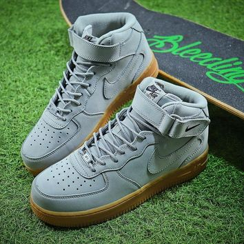 Nike Air Force 1 Mid Gray Men Skateboarding Causel Sports Sneaker Shoes Model Number 315123-410