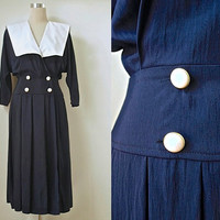 "Ship Ahoy! Sailor Collar Dress - 80s Does 1940s Nautical Style Vintage Dress - Navy Black Midi Dress - White Collar Dress - 34"" Bust"