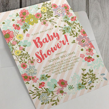Printable Baby Shower Invitation, 5x7 Inch, Floral Wreath, Colorful Flowers, Baby Girl Baby Shower, Pink Stripes,  Personalize