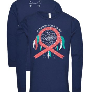 Southern Couture Lightheart Dreamin for a Cure Dream Catcher Cancer Triblend Front Print Long Sleeve T-Shirt