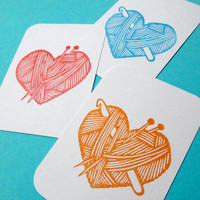 I Love Yarn and Crochet and Knitting - Hand Carved Rubber Stamp