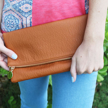 Fold Over Leather Clutch in Brown