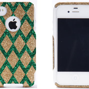 Otterbox iPhone 4 Case - iPhone 4 Otterbox Cover - Custom Gold/Green Diamond Chevron Pattern Case Glitter for iPhone 4S