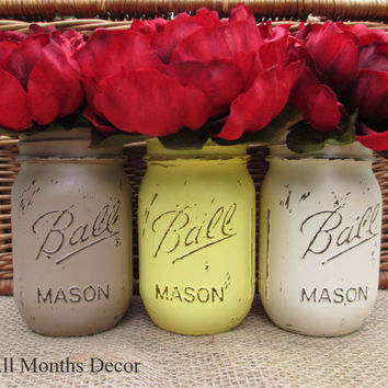 Set of 3 Painted Mason Jars, Pint or Quart Size, Brown Yellow Off White, Distressed Home Wedding Decor, Rustic Shabby Chic Floral, Country