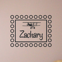 Personalized Monogram Wall Decal Plane with Childs Name Nursery Vinyl Wall Art