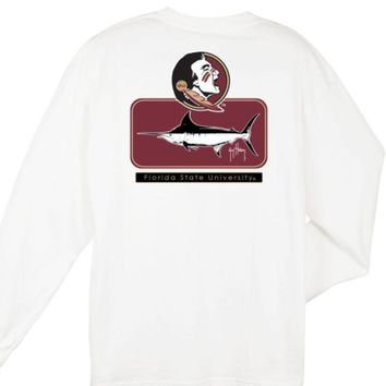 ONETOW NCAA Florida State Seminoles Guy Harvey  Blocked White T-shirt