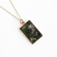 Antique Rosy Yellow 10k Gold Green Moss Agate Pendant - Victorian Fob Charm Necklace on 14k Gold Chain Fine Rectangular Jewelry Pendant
