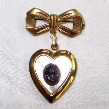 Cameo Heart Locket Brooch Vintage Pin Mother of Pearl