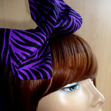 Purple Zebra Print Bow-Ready to Ship