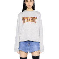 Vetements | Gray Logo Hooded Cotton Jersey Sweatshirt | Lyst