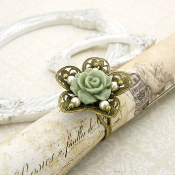 Sage Green and Ivory Pearl Flower Ring - Shabby Chic Resin Rose Ring - Antiqued Brass Vintage Style Jewelry Neo Victorian Bronze Flower Ring