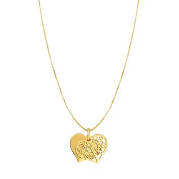 """14k Yellow Gold Heart Charm Necklace, 18"""""""