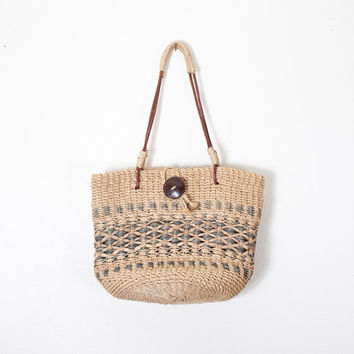 Vintage SISAL Handbag | Woven Straw and Leather Shoulder Bag Straw Bag Jute Bag Hippie Boho Chic Bucket Bag Market Tote 80s Bag 90s Bag
