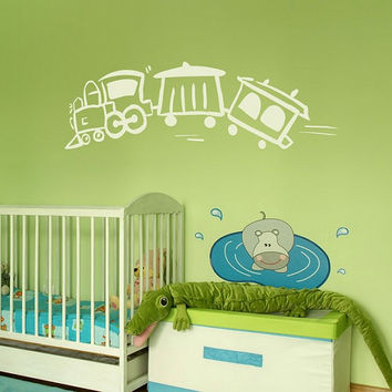 rvz660 Wall Vinyl Sticker Bedroom Decal Nursery Kids Baby Cartoon Train