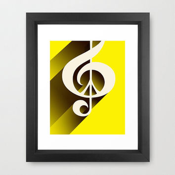 Retro Music Peace, Framed, Music, Peace Sign, Black, Yellow, Lemon Yellow, Ivory, Cream, White, Treble Clef, Musical, Jazz, Rock, Pop
