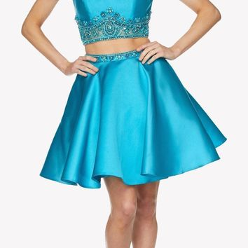 Turquoise Cold Shoulder Two-Piece Embellished Homecoming Short Dress