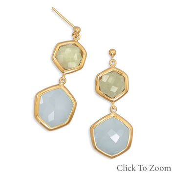 Quartz and Chalcedony Drop Earrings