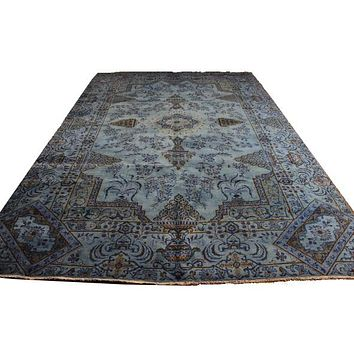 8x12 Vintage Persian Kashan Light Blue Rug Overdyed 2845