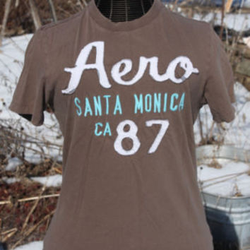 Aeropostale Sewn On Letters Aero Brown Graphic Tee T-Shirt ~Mens M~