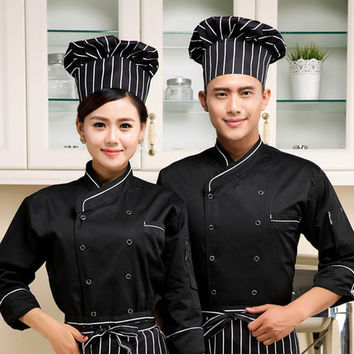 high quality 2016 long-sleeved Chef service Hotel working wear Restaurant work clothes Tooling uniform Black &white side Tops