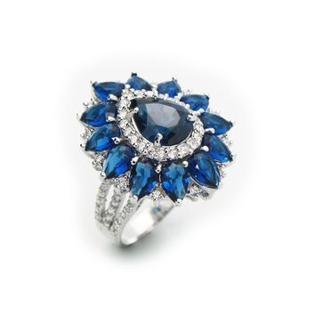 Victorian Sapphire Cubic Zirconia Fine Sterling Silver Ring by Fronay Co