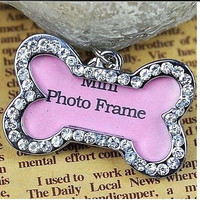 Dog Pet Puppy Metal Rhinestone Collar ID Name Tag Bone Shaped Decoration New