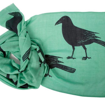 Extra Long Wool Scarf Magpies
