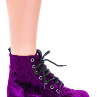 T.U.K Crushed Velvet 7 Eye Boot Purple