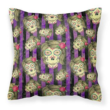 Watecolor Day of the Dead Halloween Fabric Decorative Pillow BB7519PW1414