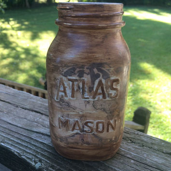 Vintage Atlas mason jar night light
