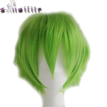 S-noilite Synthetic Women Men Short Hair Wig Cosplay Fancy Dress Full Head Wigs Black Blue Purple Green Yellow