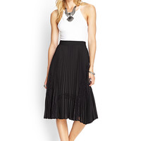 Accordion Lace Paneled Midi Skirt