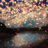 Love Wish Lanterns Stretched Canvas by Paula Belle Flores