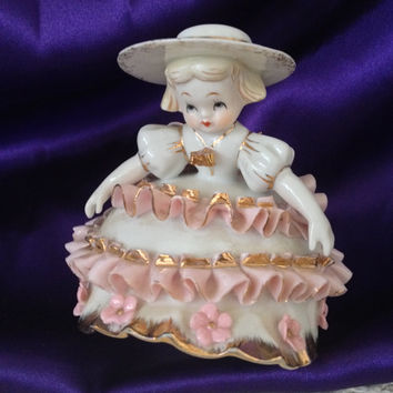 Lefton Figurine,  Pink Ribboned Porcelain Frock, White Ruffled Bloomers K 1412  Geo Z Lefton Collectible Kitsch, Shabby Decor