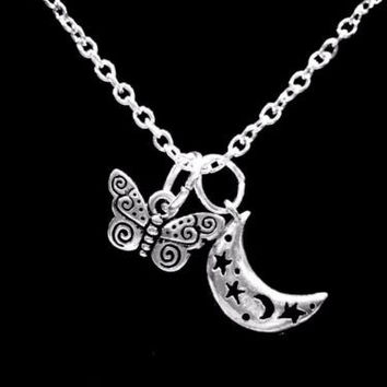 Crescent Moon Butterfly Monarch Animal Celestial Gift Charm Neck c6995551c0bb
