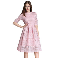 Fall Summer Elegant Midi Dress For Girl Round Collar Lace Embroidery A Line Dresses Hollow Out Slim Party Dress Vestidos