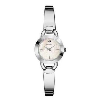 Ladies' Bulova Crystal Accented Bangle Watch with Mother-of-Pearl Dial (Model: 96P154) - Bulova - Zales