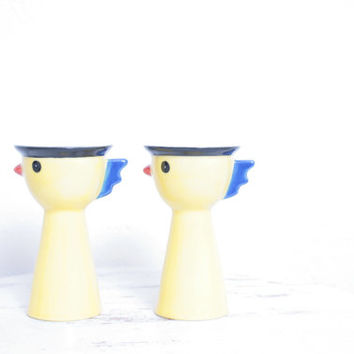 Pair of Adorable Vintage Chicken Ceramic Soft Boiled Egg Holders for Easter Breakfast or Brunch