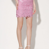 Pink Crochet Lace High Waisted Pencil Skirt