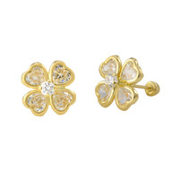 Four Leaf Clover Stud Earrings 10k Yellow Gold with Screwbacks Irish Luck 10x10